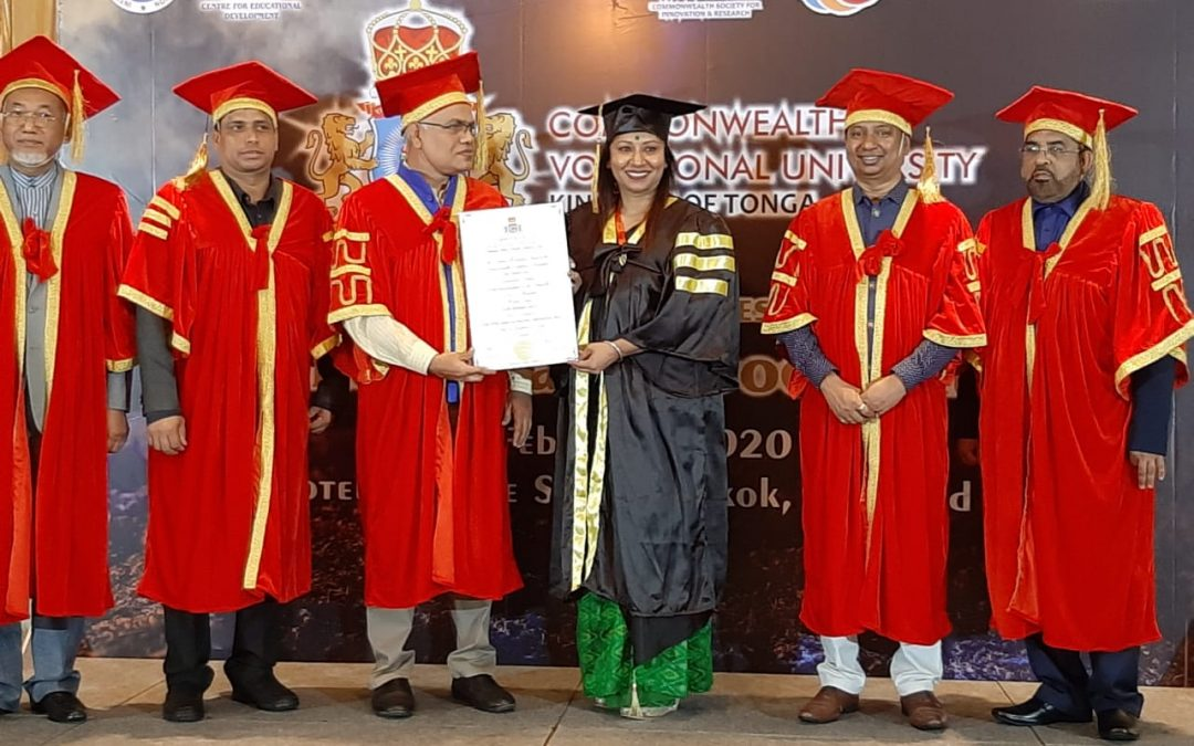 Odisha's Chidatmika conferred doctorate by Commonwealth Vocational University