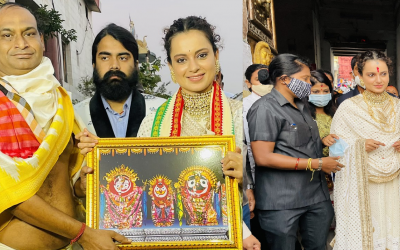 Bollywood queen Kangana Ranaut offer prays in Puri Jagannath Temple